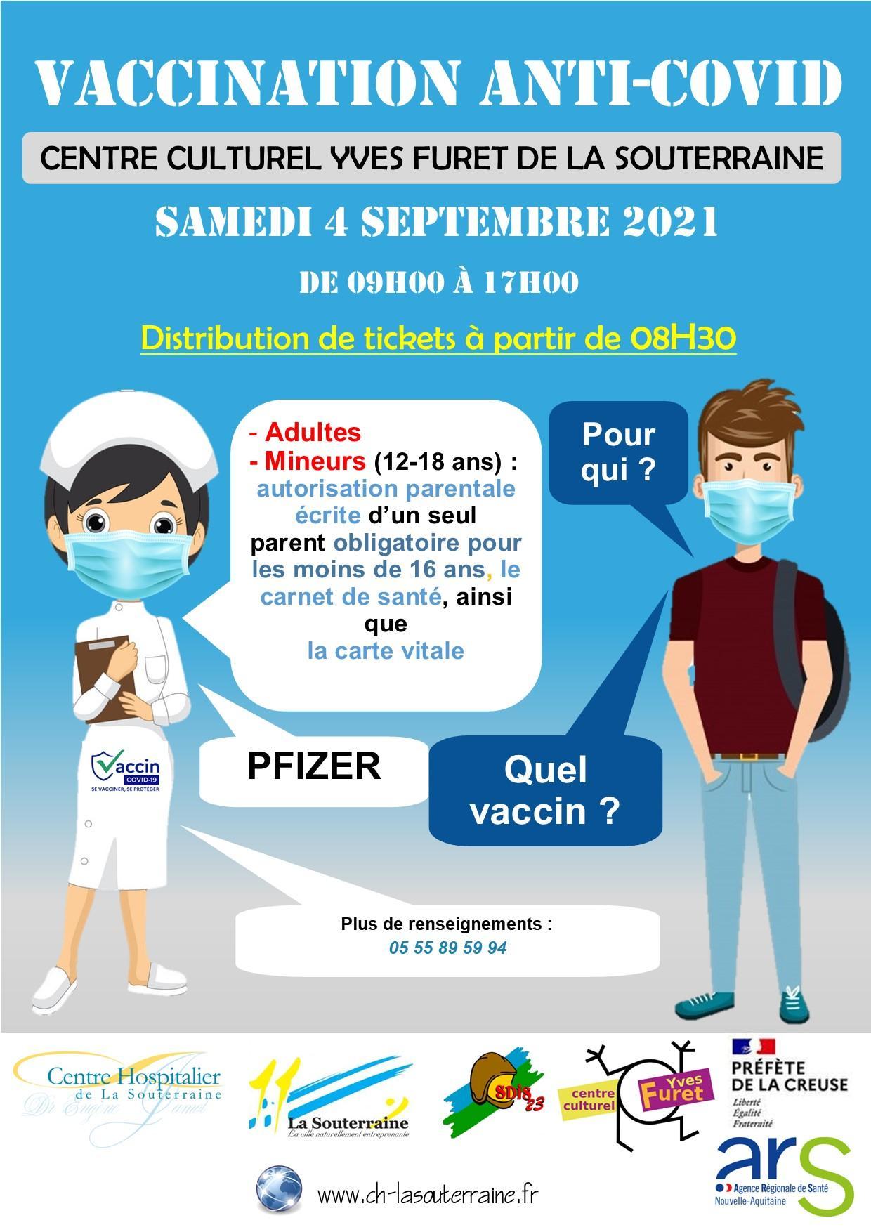 Affiche vaccination sans rendez vous du 04 09 2021