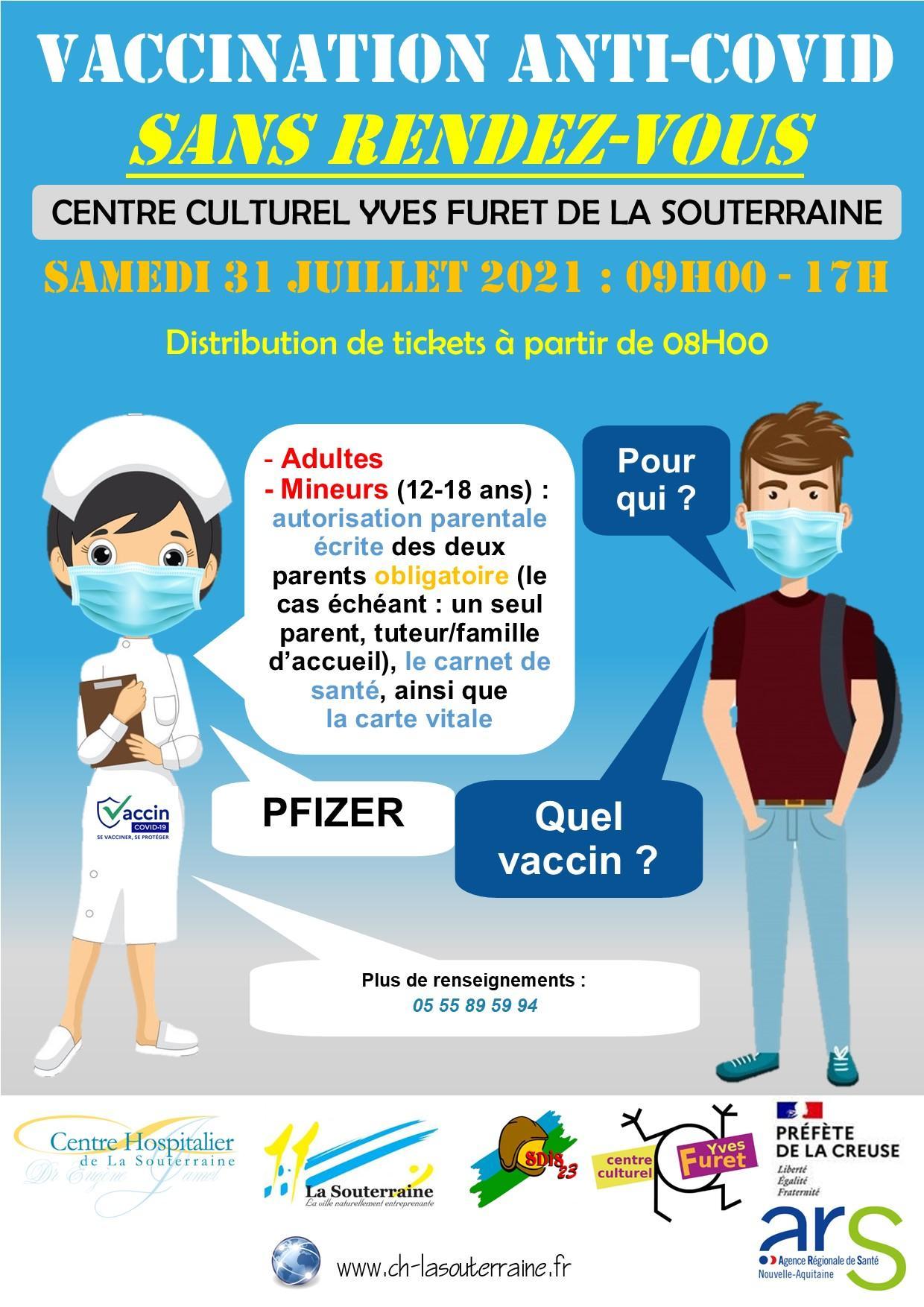 Affiche vaccination sans rendez vous du 31 07 2021