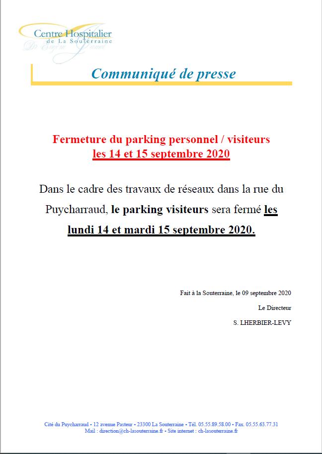 Communique de presse fermeture parking personnel visiteur les 14 et 15 septembre 2020