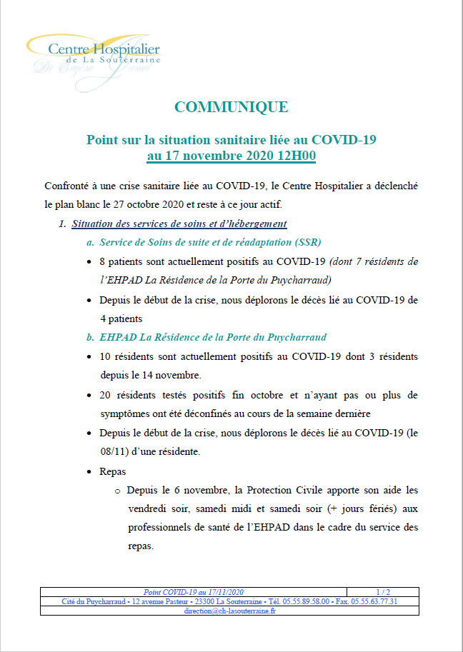 Point situation covid 19 au 17 11 20