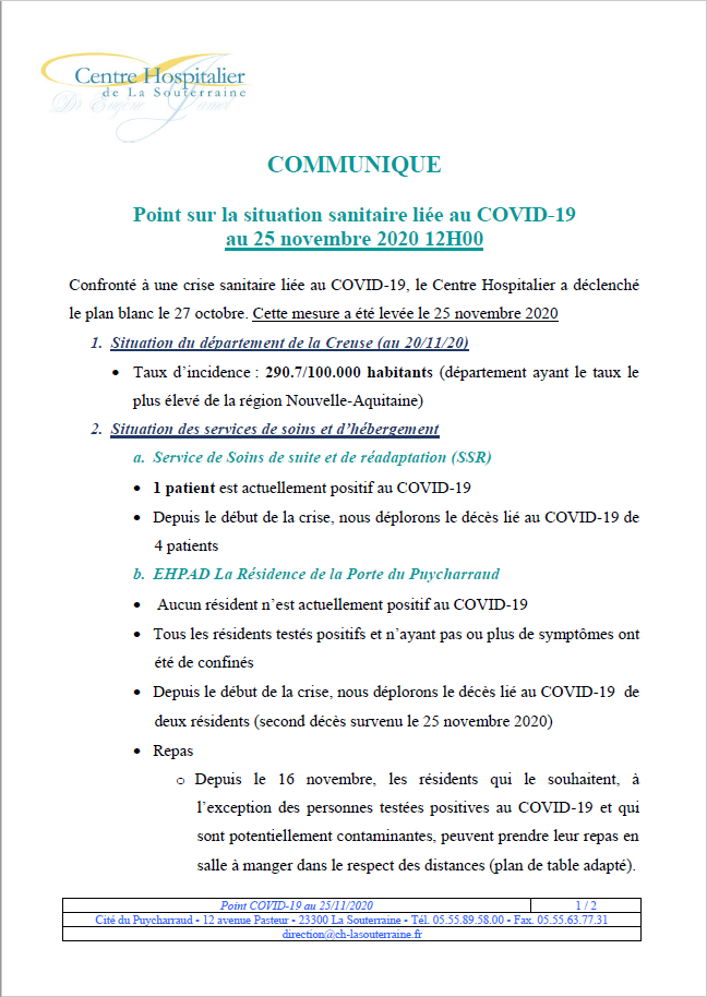 Point situation covid 19 au 25 11 20