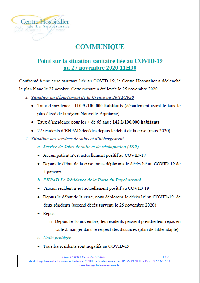 Point situation covid 19 au 27 11 20