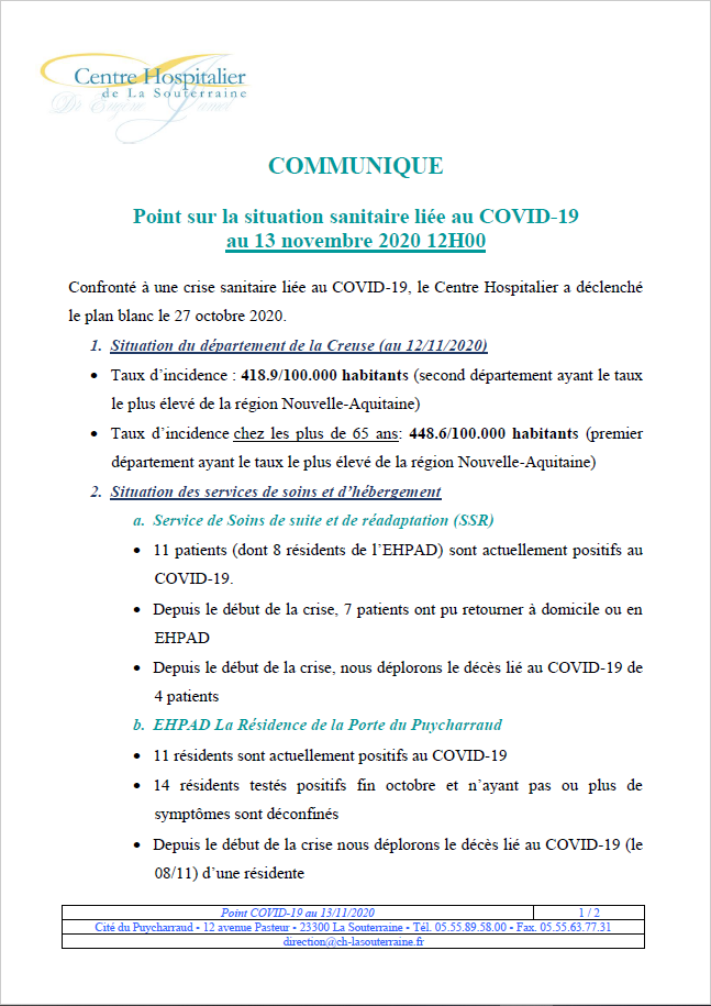 Point situation covid au 13112020