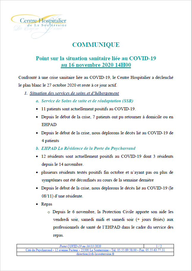 Point situation covid au 16 11 20
